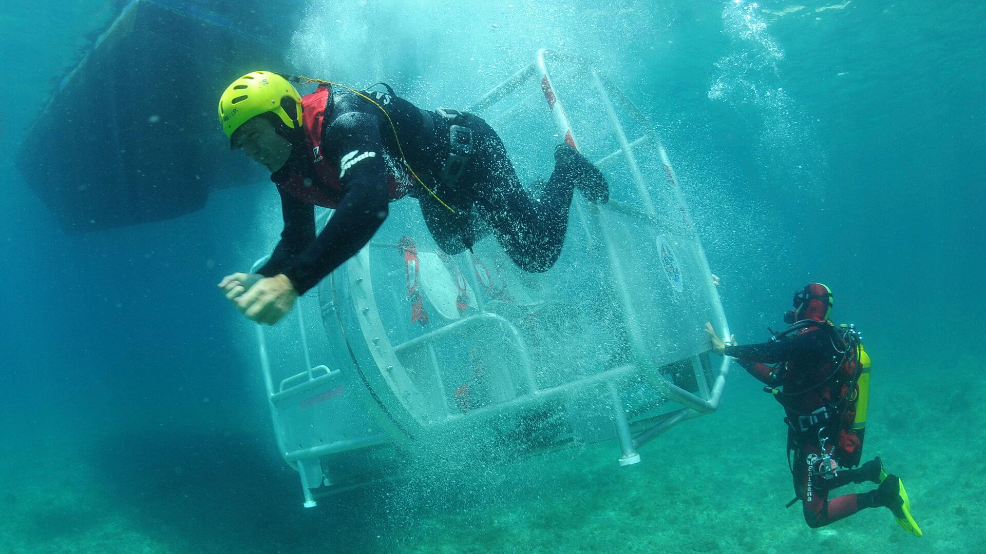 Exercice de survie en mer avec le Centre National de Plongée (CNP) de Valabre